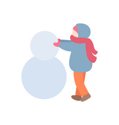 young person making snowman in warm clothes vector image
