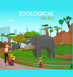 Zoological garden cartoon poster vector