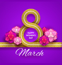 8 march international womens day greeting card - vector image vector image
