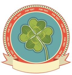 Clover label background with scroll for text vector image