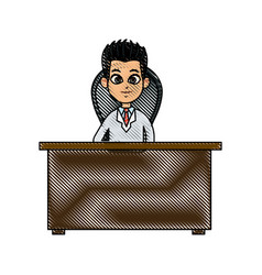 drawing doctor working desk physician image vector image