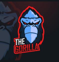 gorilla esport mascot logo design for gamer vector image