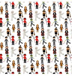 halloween costumes pattern vector image