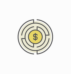 labyrinth with money icon vector image vector image