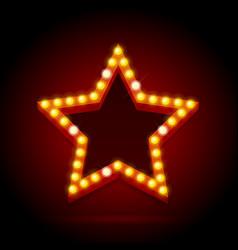 light bulbs vintage neon glow star shape vector image vector image