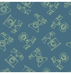 seamless pattern with vintage phone in line vector image vector image