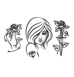 Tattoos Beauty girl knife rose and barbed wire vector image vector image