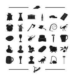 Tool desert landmark and other web icon in black vector