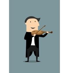 Cartoon violinist in black tailcoat vector image