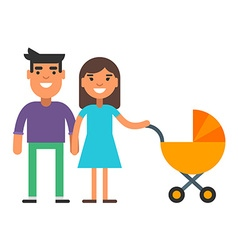 Cute smiling couple with a yellow baby carriage vector image