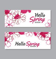 hello spring season banner template background vector image