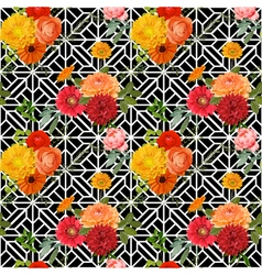 Vintage Colorful Floral Geometry Background vector image