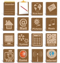 wooden icons vector image