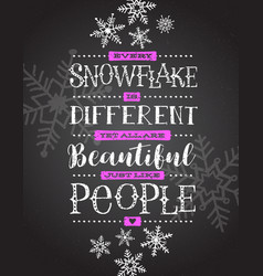 card hand drawn snowflakes and inspiring quote vector image vector image
