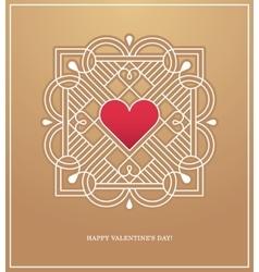 Golden heart frame for love design concept vector image