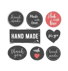 Hand drawn handcrafted stamp set vector