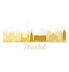 Istanbul City skyline golden silhouette vector image vector image