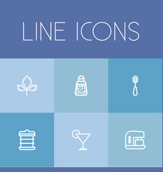 Set of 6 editable meal icons includes symbols vector