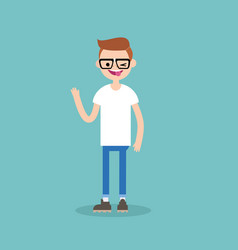 winking nerd boy sticking out tongue vector image vector image