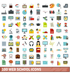 100 web school icons set flat style vector image
