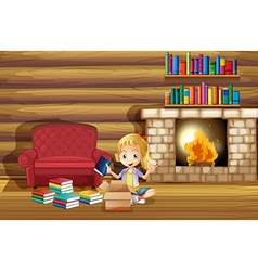 A girl fixing her books near the fireplace vector image