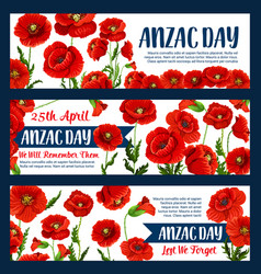 Anzac day 25 april poppy greeting banners vector