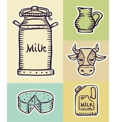 Milk and dairy products hand vector image vector image