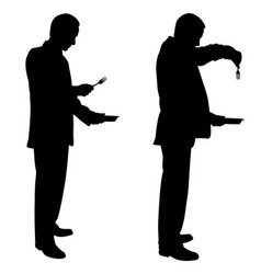 silhouettes of men with plates and forks vector image