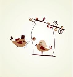 Wedding card groom bird giving a flower vector image vector image