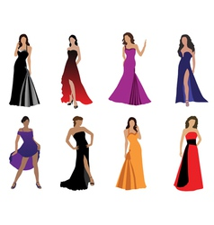 woman in beautiful dress vector image