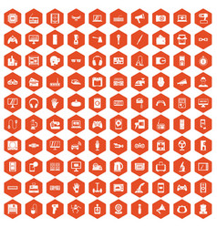 100 device app icons hexagon orange vector