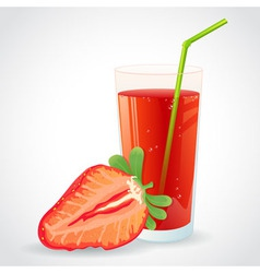 a glass fresh strawberry juice and strawberry vector image