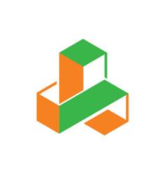 Abstract 3d cube shape vector