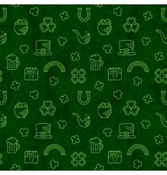 Abstract green seamless line art grunge pattern vector image