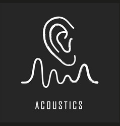 Acoustics chalk icon sound transmission and vector