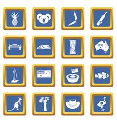 Australia travel icons set blue vector