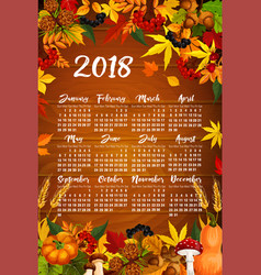 Autumn maple leaf harvest calendar 2018 vector