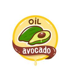Avocado oil logo natural product emblem vector