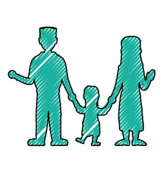 Beautiful family silhouette vector