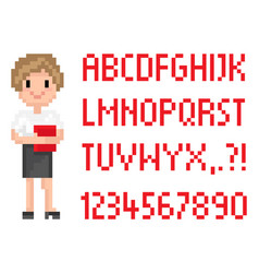blond secretary with book pixel abc font vector image