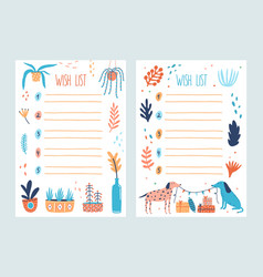 Bundle of wish list templates decorated by potted vector