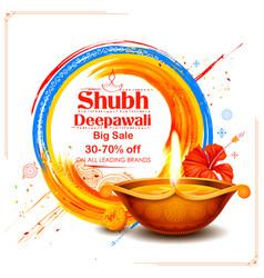 Burning diya on shubh deepawali meaning happy vector