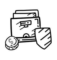 business secure hand drawn icon design outline vector image