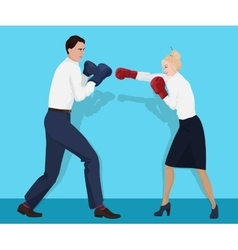 Businessman in boxing gloves having a fight with vector