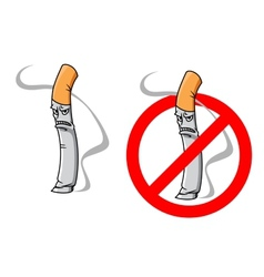 Cartoon unhappy cigarette character vector