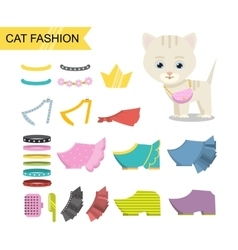 Cat fashion icon vector