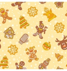 Christmas cookies flat icons seamless pattern vector image