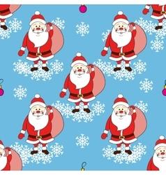 Christmas seamless pattern with cartoon Santa vector image