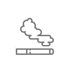 Cigarette tobacco smoke line icon isolated on vector