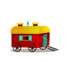 circus horse cart with wood wheels and red yellow vector image